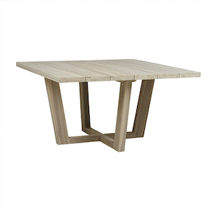 Marina Square Cross Dining Table - Aged Teak