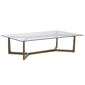 Geo Glass Coffee Table - Natural Teak