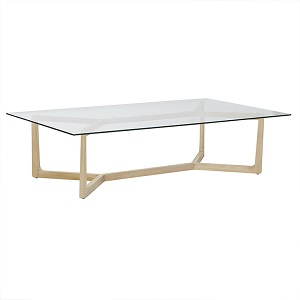 Geo Glass Coffee Table - Natural Oak