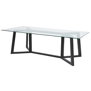 Geo Glass Dining Table - Charcoal
