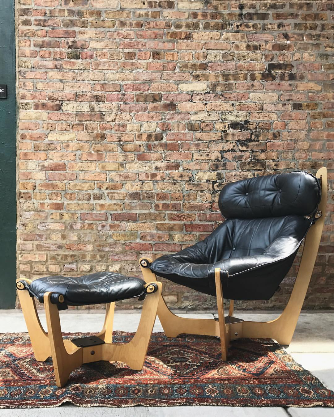 Luna High Back Leather Chair by IMG with Ottoman