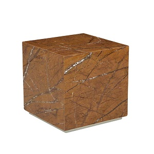 Elle Block Square Side Table - Desert Marble
