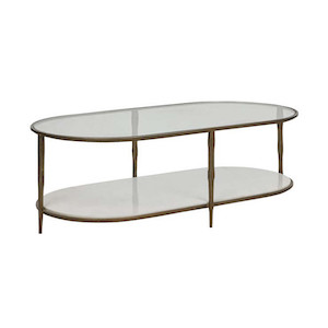 Amelie Oval Coffee Table (White Marble)
