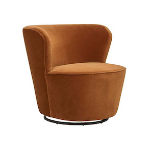 Kennedy Swivel Occasional Chair - Burnt Orange
