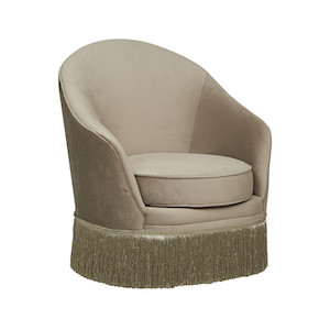 Kennedy Fringed Sofa Chair - Cream Velvet