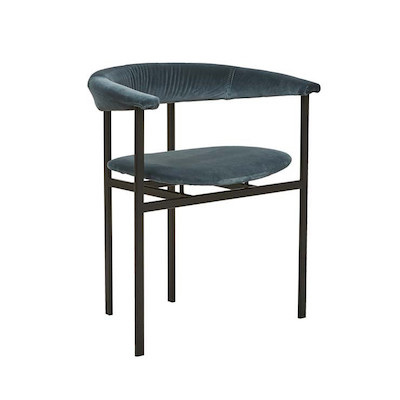 Kennedy Olive Arm Chair - Blue Charcoal