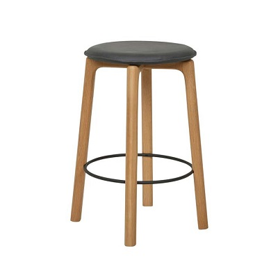 Sketch Glide Upholstered Barstool - Black Leather