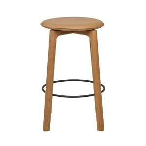 Sketch Glide Upholstered Barstool - Camel Leather