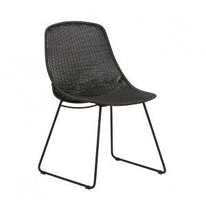 Granada Scoop Closed Weave Dining Chair - Licorice