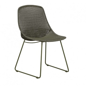 Granada Scoop Closed Weave Dining Chair - Moss Green
