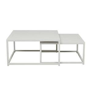 Aruba Square Nest of 2 Coffee Tables - White