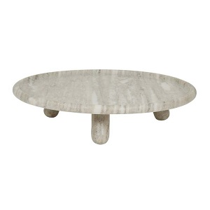 Ridge Marble Round Footed Platter - Beige