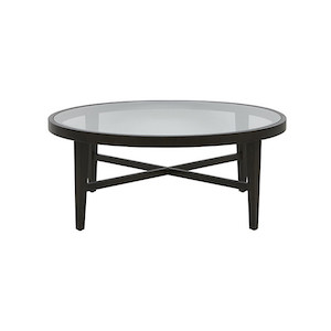 Ascot Round Glass Coffee Table - Mocca Ash