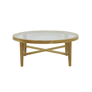 Ascot Round Glass Coffee Table - Natural Ash