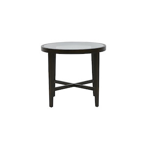 Ascot Round Glass Side Table - Mocca Ash
