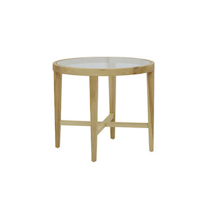 Ascot Round Glass Side Table - Natural Ash