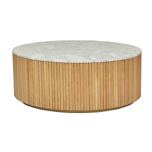 Benjamin Ripple Marble Coffee Table - Natural