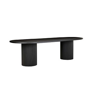 Benjamin Ripple Oval Dining Table - Matt Black
