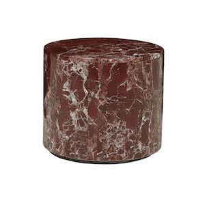 Elle Round Block Side Table - Rouge Marble