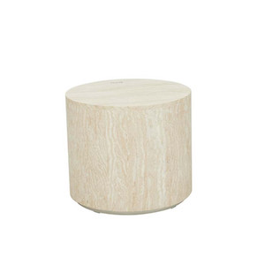 Elle Round Block Side Table - Natural Travertine