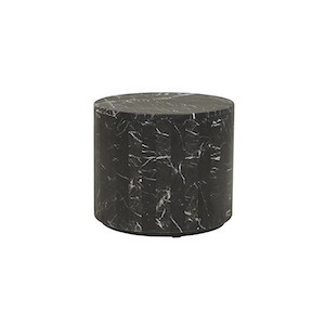 Elle Round Block Side Table - Black Marble