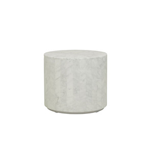 Elle Round Block Side Table - White Marble