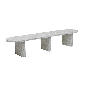 Amara Oval Bench Seat - White