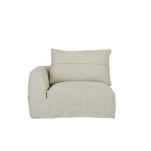 Cove Seamed 1 Seater Left Arm - Shell Linen