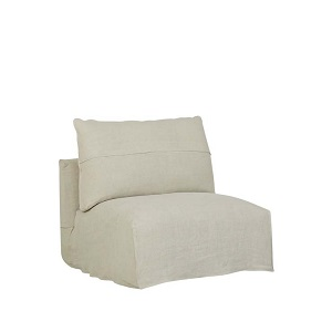 Cove Seamed 1 Seater Armless - Shell Linen