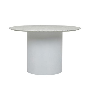 Elle Pillar Round Dining Table 1.2  - White Marble