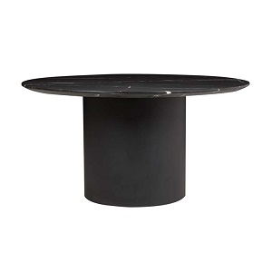 Elle Pillar Round Dining Table 1.5  - Black Marble