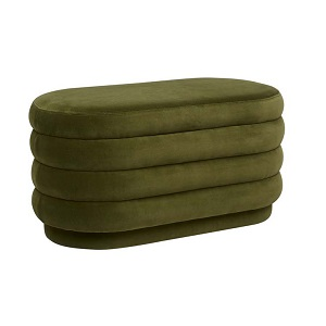 Kennedy Ribbed Oval Ottoman - Pickle Green
