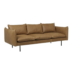 Humphrey Curve 3 Seater Sofa - Caramel Leather