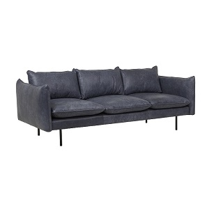 Humphrey Curve 3 Seater Sofa - Navy Leather