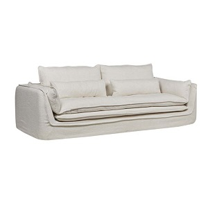 Orlando Seamed 4 Seater Sofa - White Dove