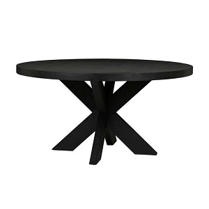 Acre Round Dining Table - Matt Black