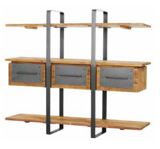 Spike Bookrack with 3 drawers and 3 shelves
