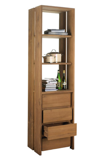 Fissure Open Rack Bookcase - Drawers