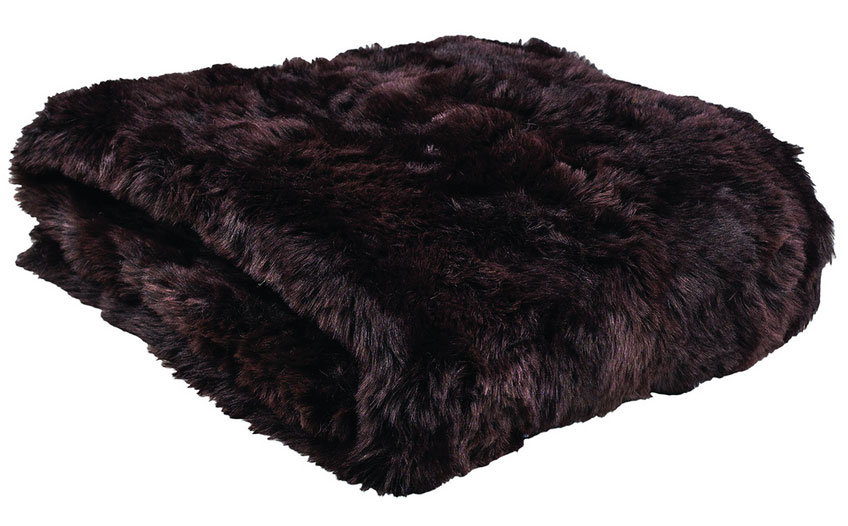 Faux Fur throw in Grizzly