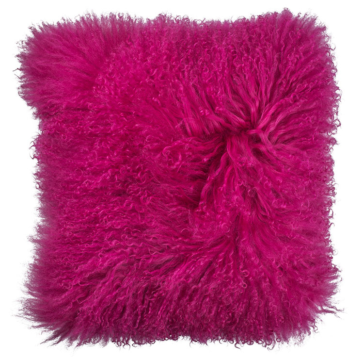 Mongolian Lambswool Cushion in Fuchsia