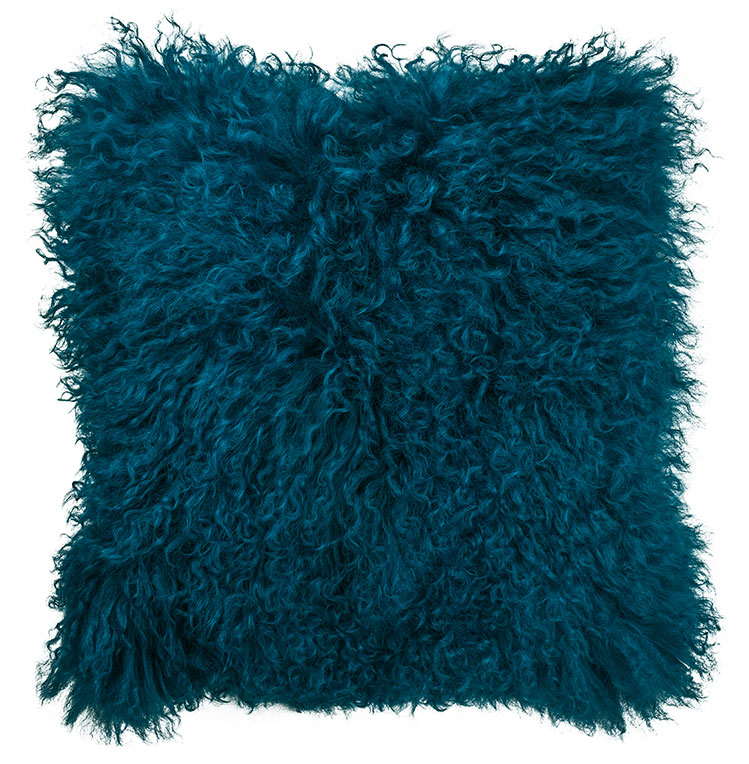 Mongolian Lambswool Cushion in Teal