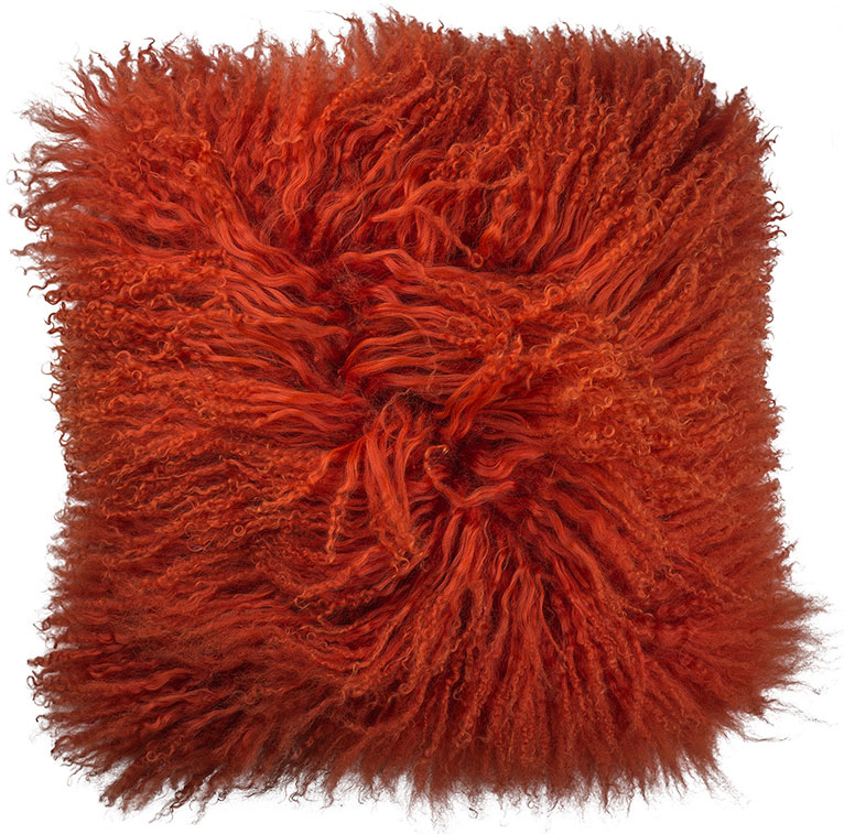Mongolian Lambswool Cushion in Vermillion